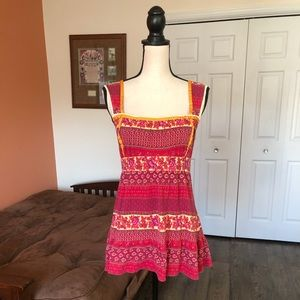 FREE PEOPLE red and pink tank style blouse